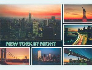 Unused Pre-1980 SIX NYC SUNSET VIEWS ON ONE POSTCARD New York City NY hn3500-19