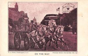 Anheuser Busch Budweiser Steam Fire Engine Firemen Vintage Postcard JE229077