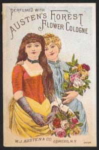 VICTORIAN TRADE CARD Austens Forest Cologne 2 Pretty Ladies With Bouquets