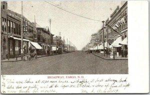 FARGO North Dakota Postcard BROADWAY Downtown Street Scene - Dated 1907