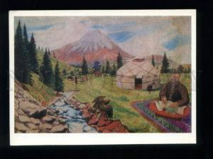 166073 CENTRAL ASIA yurt FALCON by KASTEYEV Old postcard