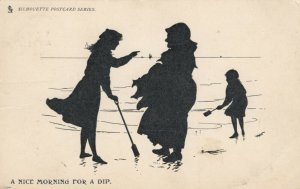 Silhouette ; A Nice Morning For a dip , 1903 ; TUCK 995