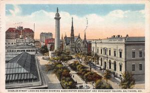 Charles Street Looking North, Baltimore, Maryland, Early Postcard, Used in 1921