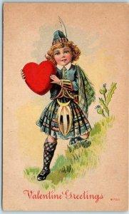 Vintage VALENTINE'S DAY Postcard Boy in Scottish Kilt / Red Heart #6701 c1910s