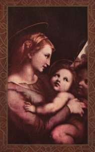 ?Vintage Postcard 1923 Mother and Child New Baby Family Love Religious  Artwork