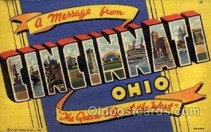 Cincinnati, Ohio Large Letter Town 1942 postal used 1942, corners are square,...