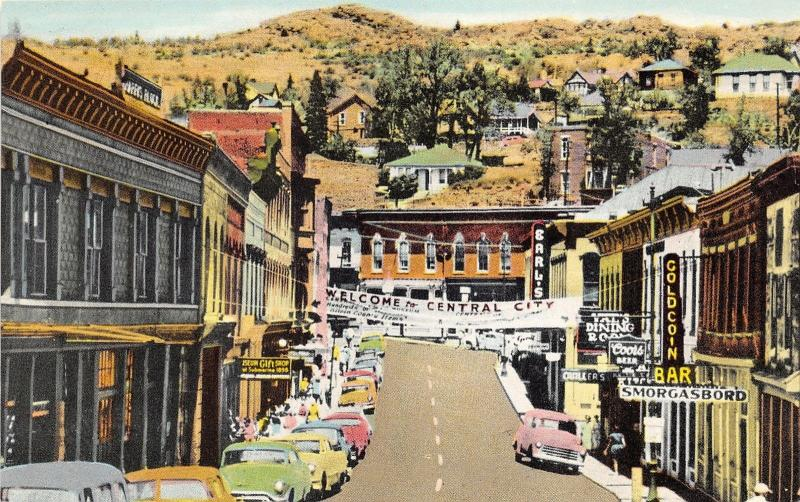 Central City Colorado~Main Street~Storefronts~Coors Beer~Banner~50s Postcard