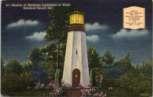 postcard DE Helopen Lighthouse (Replica) at Night at Rehoboth Beach