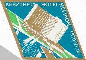 Hungary Keszthely Hotel Helikon Vintage Luggage Label lbl0042