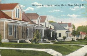 Sioux Falls South Dakota~Minnesota Avenue South Homes~Big Porches~1909 Postcard