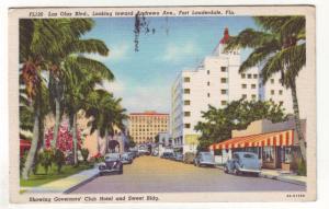 P325 JLs postcard 1938 old cars buildings ft laurderdale florida used