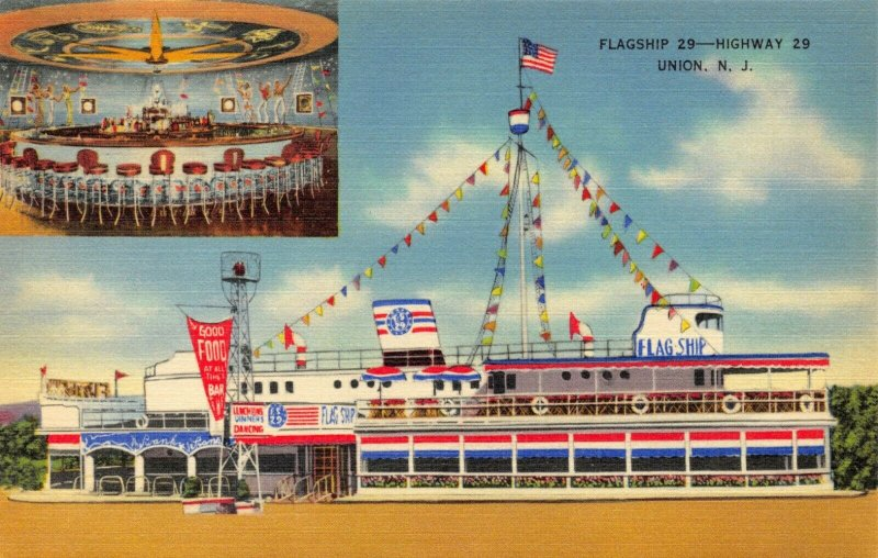USA Linen Postcard Flagship 29 Restaurant, Highway 29, Union, New Jersey FA8