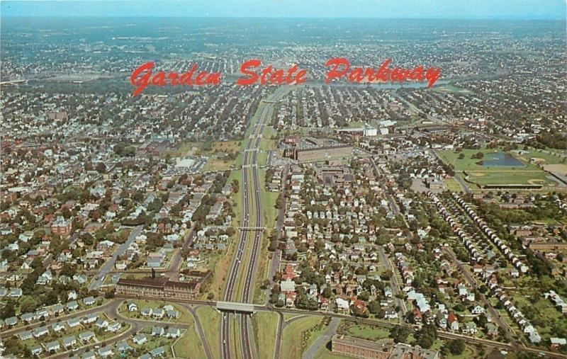 New Jersey~Aerial View: Garden State Parkway~Homes~Bridge~Overpasses~