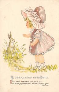 Easter~Curly Blonde Girl in Sunbonnet Finds Bunny Rabbit in Grass~Emb~Gottschalk