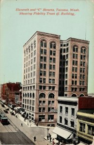 Tacoma WA Eleventh & 'C' Streets Fidelity Trust Building Sprouse Postcard G11