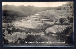 Throne of the Inca Rodadero Cuzco Peru RPPC unused c1920's