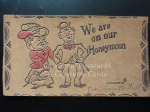 American Leather Postcard: WE ARE ON OUR HONETMOON c1907