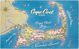 Map Card of Cape Cod Massachusetts MA 1977