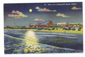 Moon Over Jacksonville Beach FL 1945 Curteich Linen