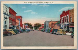 WARSAW NY MAIN STREET 1939 VINTAGE POSTCARD