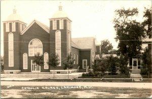 Vintage EKC Real Photo Postcard RPPC - Catholic Church Larimore ND
