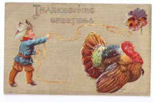 Thanksgiving Little Cowboy Lassoing Turkey Embossed VintageP. Sander Postcard