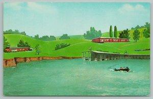 Burgin Kentucky~Herrington Woods Hotel~Marina~Vintage Postcard