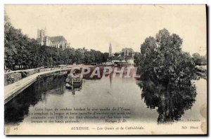 Old Postcard Auxerre The banks of the Cathedrale