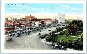 Enid, Oklahoma Postcard East Randolph Street Downtown Bird's-Eye c1930s Kropp