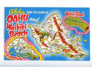 204350 ALOHA from HAWAII MAP Oahu Waikiki Beach old postcard