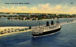 Steamship Leaving Miami, Florida