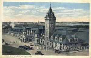 Union Station, Portland, ME, Maine, USA Train Railroad Station Depot Post Car...