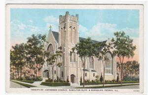 Trinity Evangelical Lutheran Church Peoria Illinois 1920s postcard