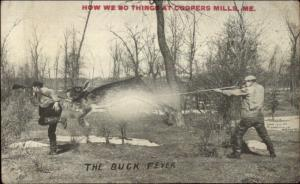 Coopers Mills ME Rabbit Hunting Exaggeration c1910 Postcard