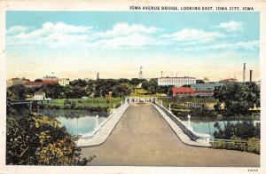 Iowa City Iowa~Iowa Avenue Bridge Looking East~Buildings-Smoke Stacks~1920s Pc