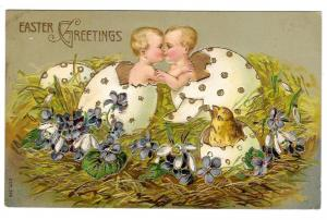 Easter Babies Chick Hatching from Eggs Kissing Gilt Postcard