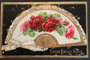 "Postcard Unused w/writing on back ""Sincere Birthday Wishes"" Flowers LB"