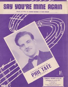 Say You're Mine Again Phil Tate 1950s Sheet Music