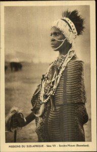 Ethnic Ethnography Black Man Witch Doctor Costume Basutoland Postcard G19