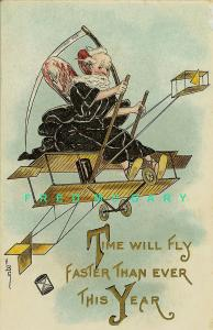 1910 New Year PC: Signed H. B. Griggs Art, Father Time Pilots Early Aircraft