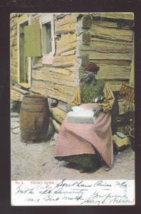 BLACK AMERICANA NEGRO HOME WOMAN ANTIQUE VINTAGE POSTCARD SOUTHERN PINES