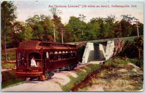 Indianapolis Postcard Indiana Unlimited Train (70 Miles per Hour) 1909 Cancel