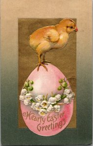 Winsch realistic baby chick on big pink easter egg lilies of the valley gold