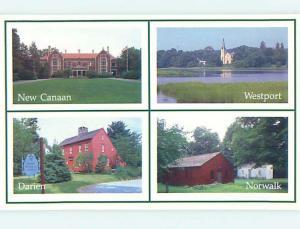 4 Views On Card Westport - Darien - Norwalk - New Canaan Connecticut CT J8154