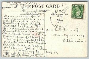 This Road Leads to Primghar Iowa~Railroad Tracks~1914 Pennant Postcard