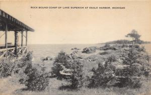 Eagle Harbor Michigan~Rock Bound Coast of Lake Superior~Patio @ Right~c1910 Pc