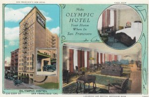 SAN FRANCISCO, California, 1900-10s; Olympic Hotel, Garage, Guest Room & Mizz...