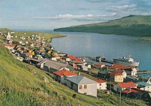 Suduroy Faroe Islands Village Hotel 1980s Aerial Postcard