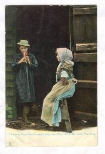 TUCK Rural Life Series, Man plays flute for Girl, 00-10s #1422