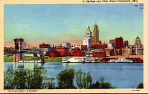 Ohio Cincinnati Skyline and Ohio River 1943 Curteich